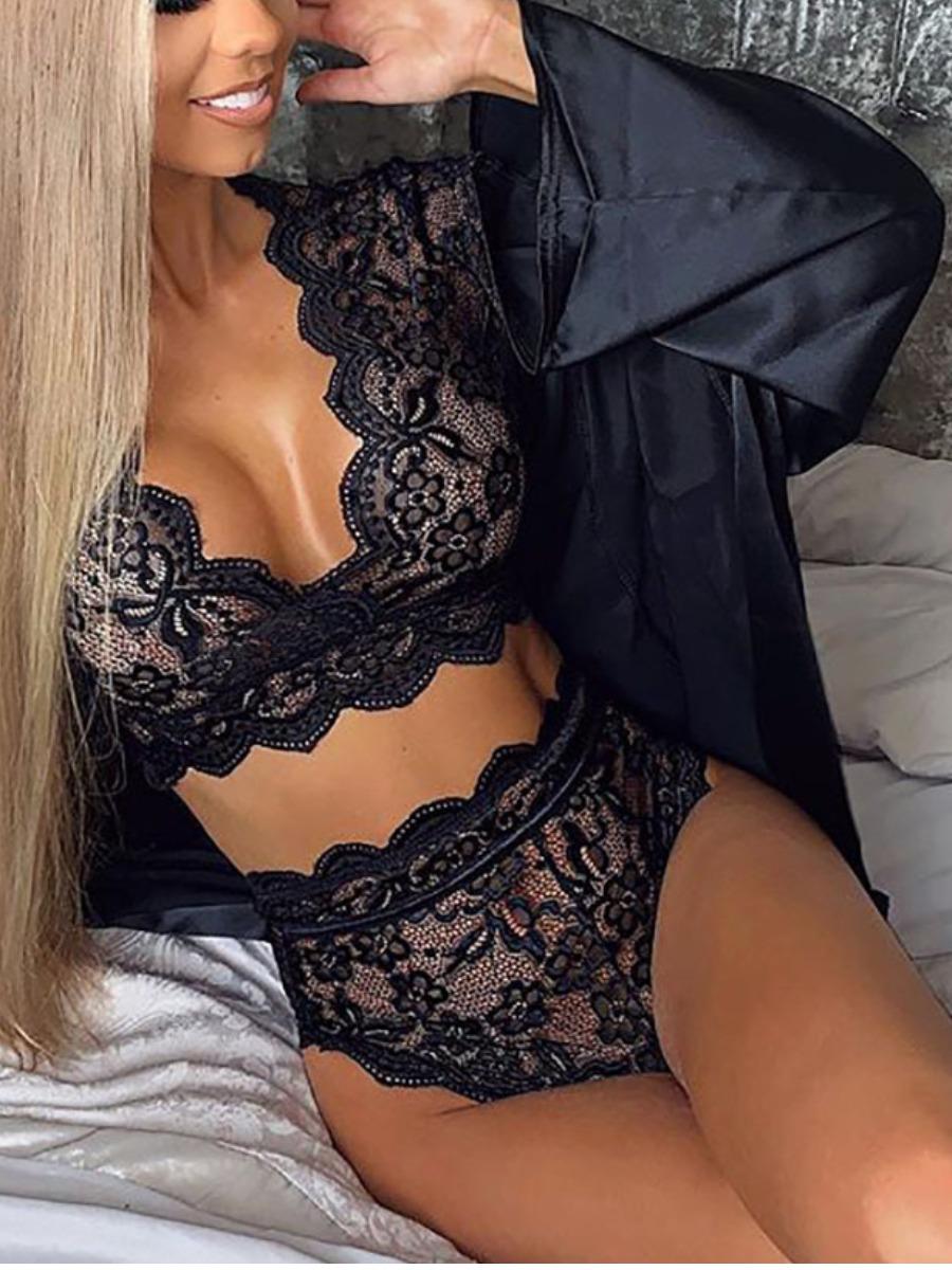 LW Casual See-through Scalloped Black Sleepwear