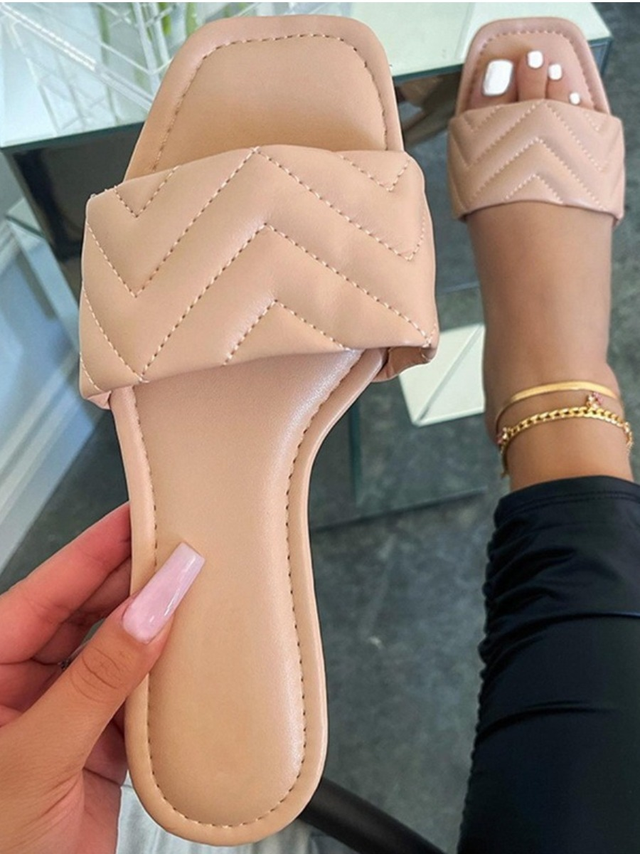 Lovely Casual Quilted Slide Apricot Slippers