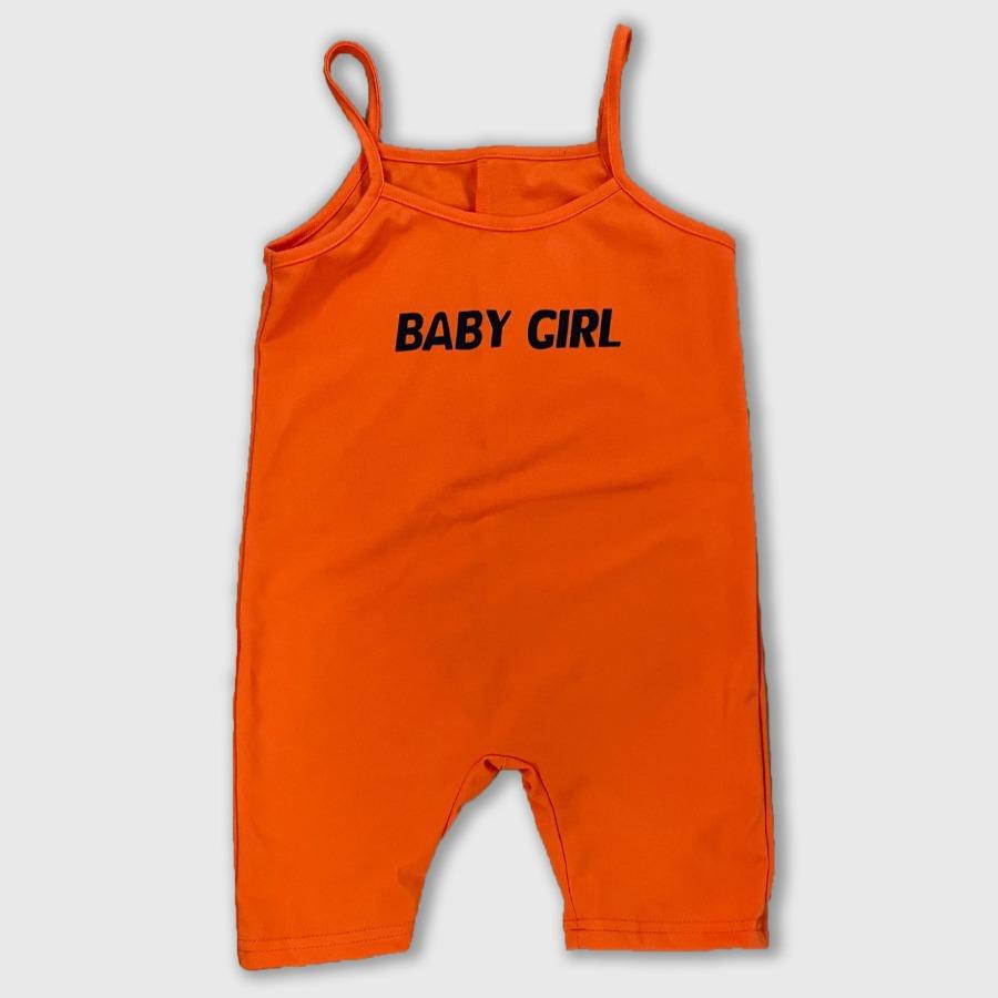 Lovely Girl Sporty Letter Print Elastic Orange One-piece Romper