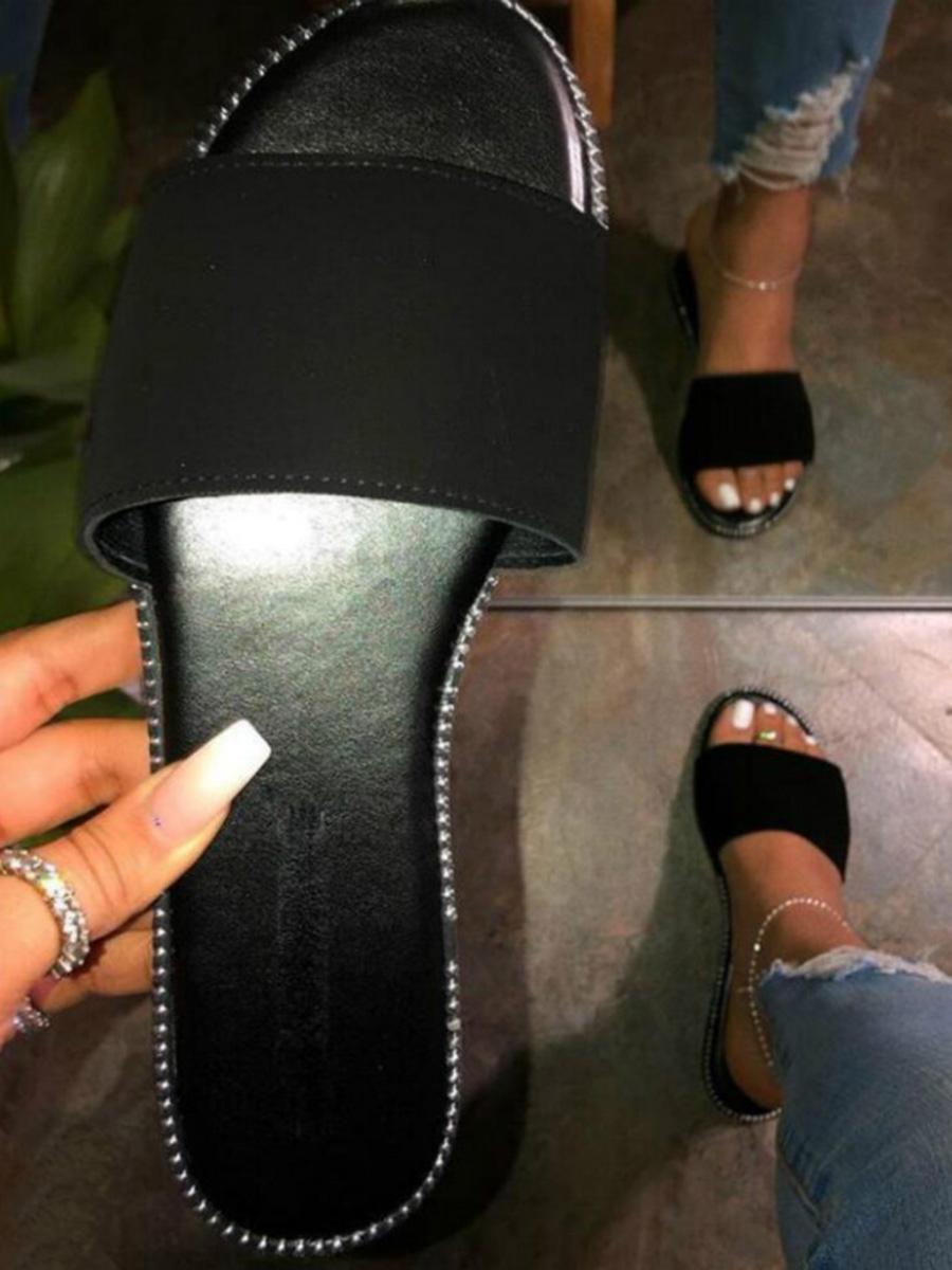 LW BASICS Casual Round-toe Black Slippers