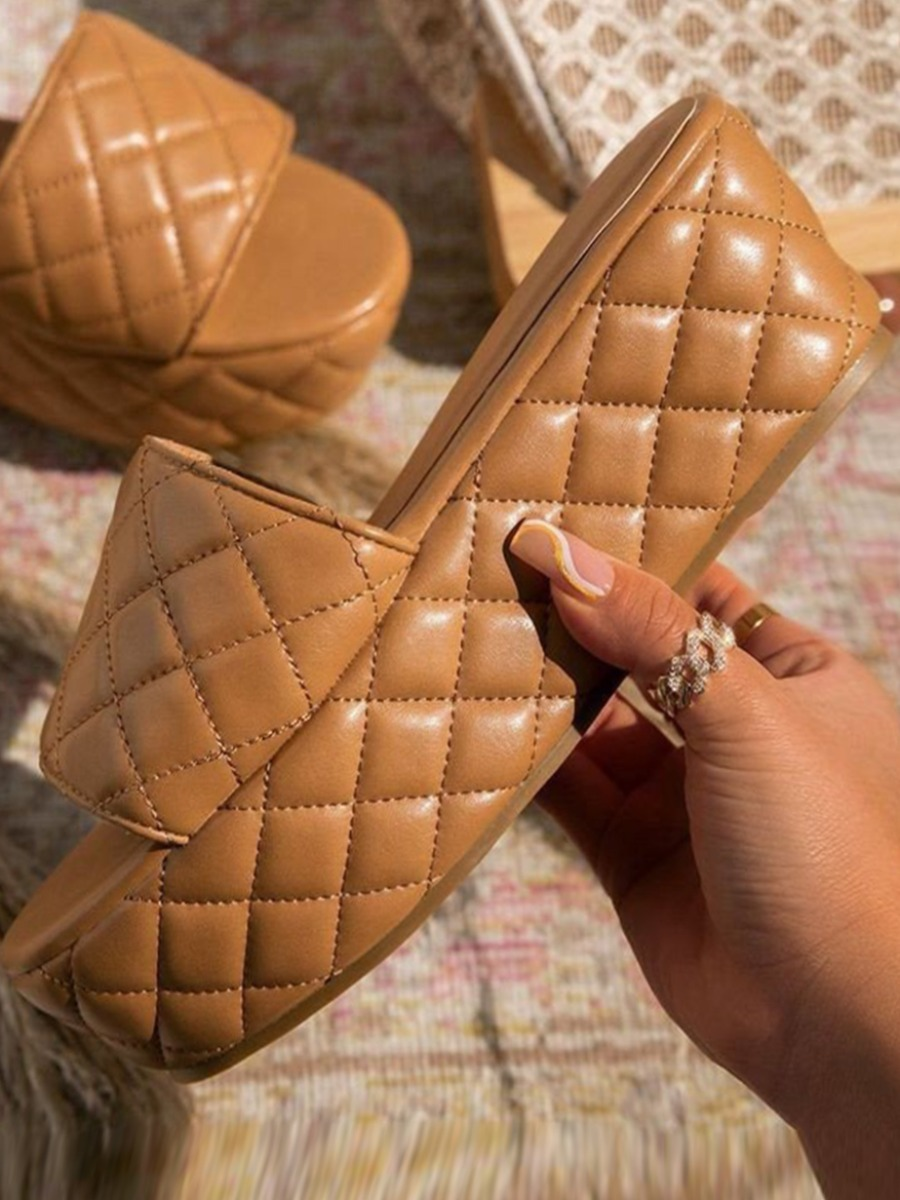 Lovely Casual Quilted Slide Coffee Platform Shoes