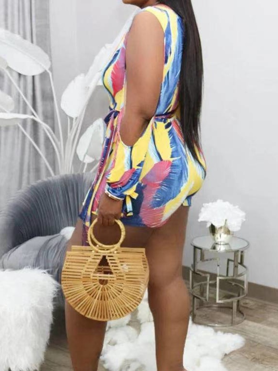 Lovely Boho Feather Print Bandage Design Yellow Plus Size One-piece Romper