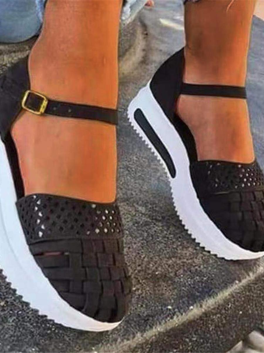 LW Street Hollow-out Black Platform Shoes