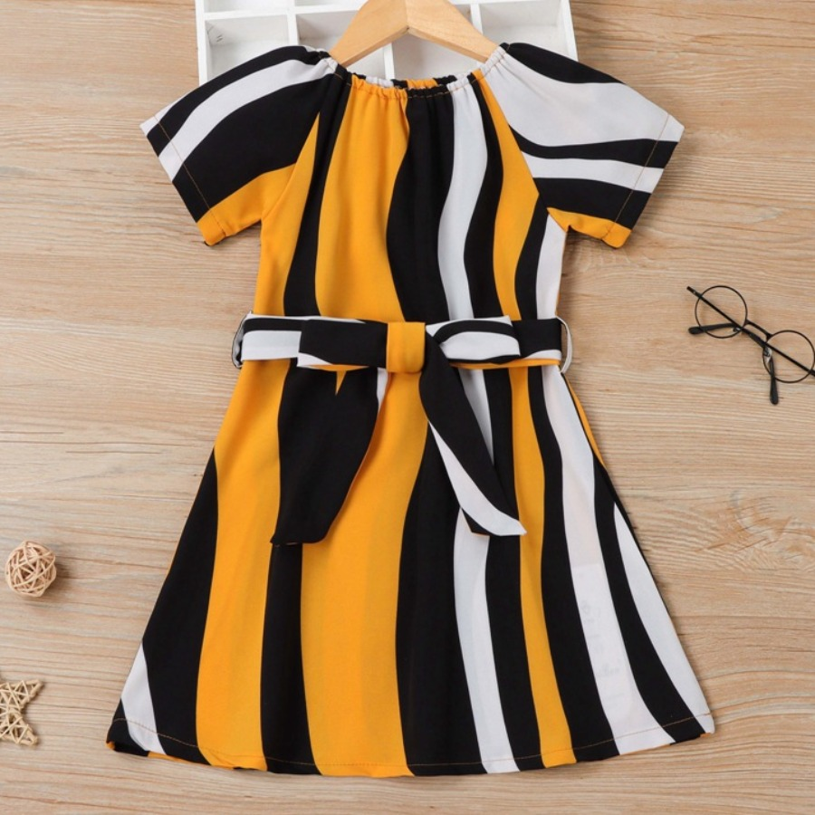 LW COTTON Girl Casual Striped Bandage Design Yellow Knee Length Dress, lovely, Girls Dress  - buy with discount