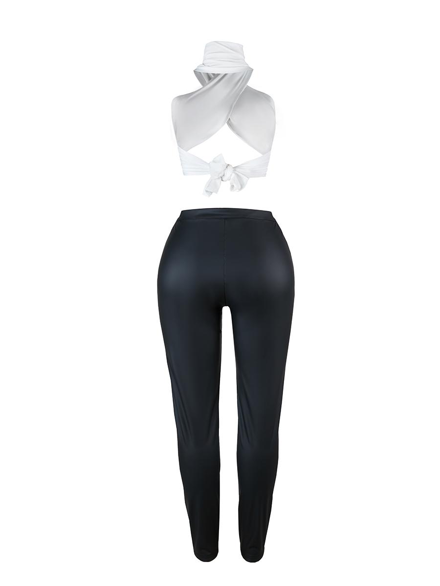 LW Sexy Criss Cross Basic Skinny Black Two Piece Pants Set