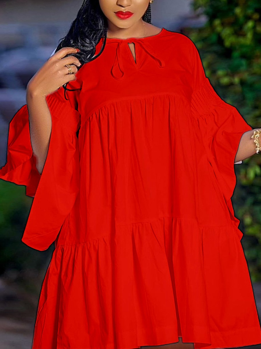 Lovely Plus Size Casual Flared Flounce Design Red Mini Dress