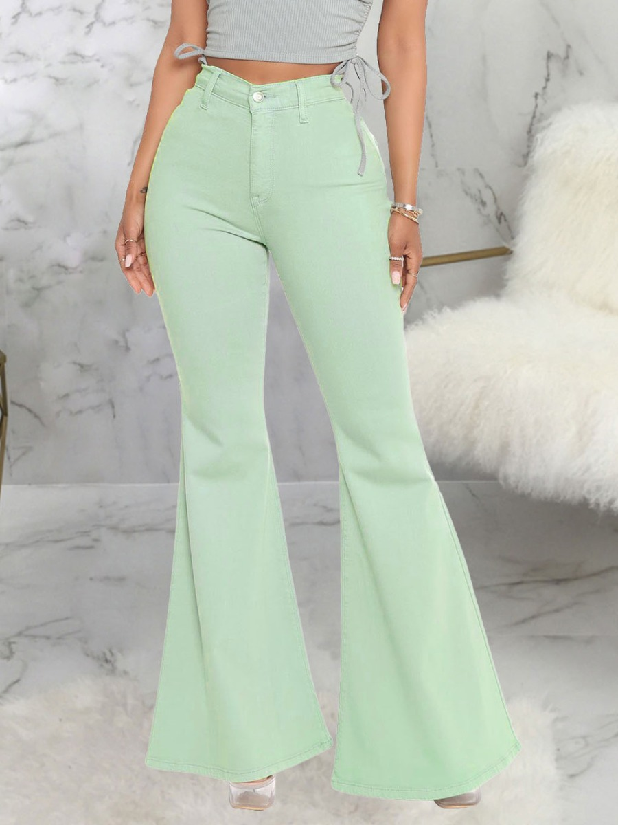 LW Casual High-waisted Flared Light Green Jeans