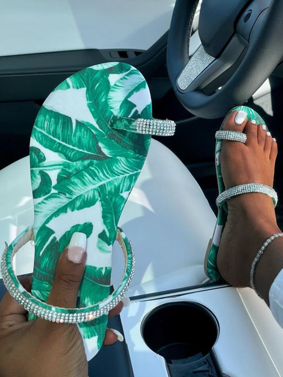 Lovely Casual Floral Print Green Slippers