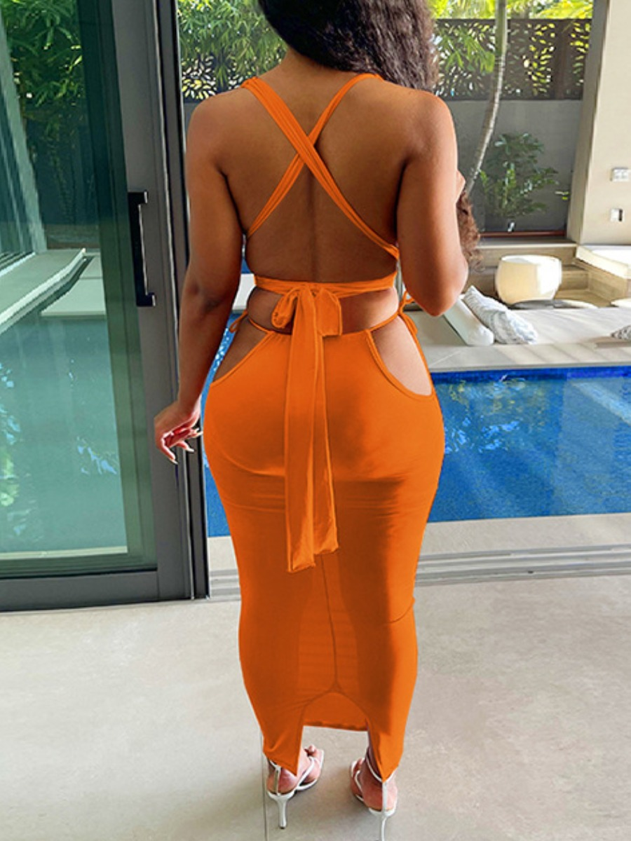 Lovely Sexy Bandage Hollow-out Design Orange Two Piece Skirt Set