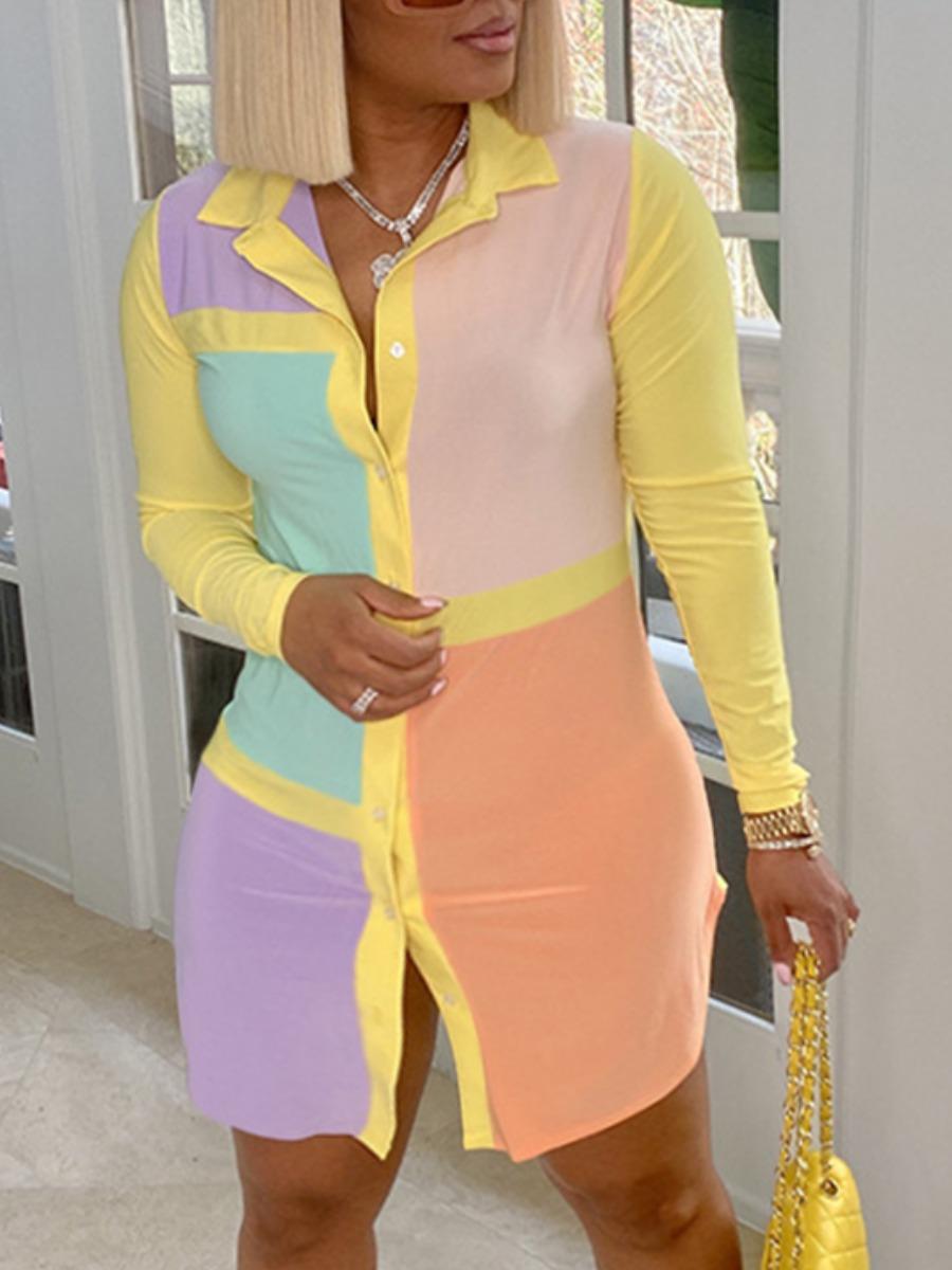 LW Plus Size Street Color-lump Patchwork Yellow Mini Dress