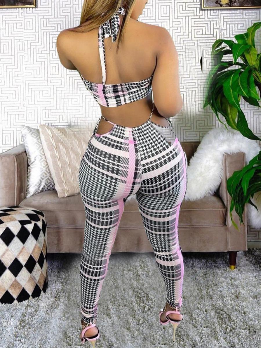 Lovely Sexy Plaid Print Bandage Design Black Two Piece Pants Set