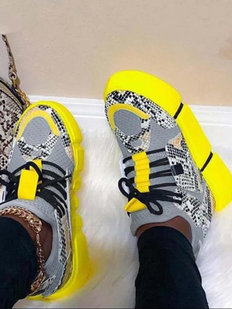 Lovely Sporty Animal Print Yellow Sneakers