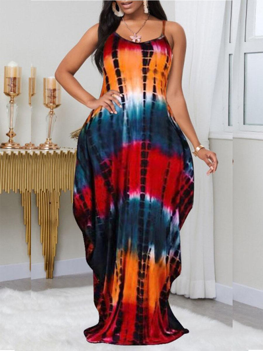 LW BASICS Plus Size Boho Tie-dye Fold Design Multicolor Floor Length Dress