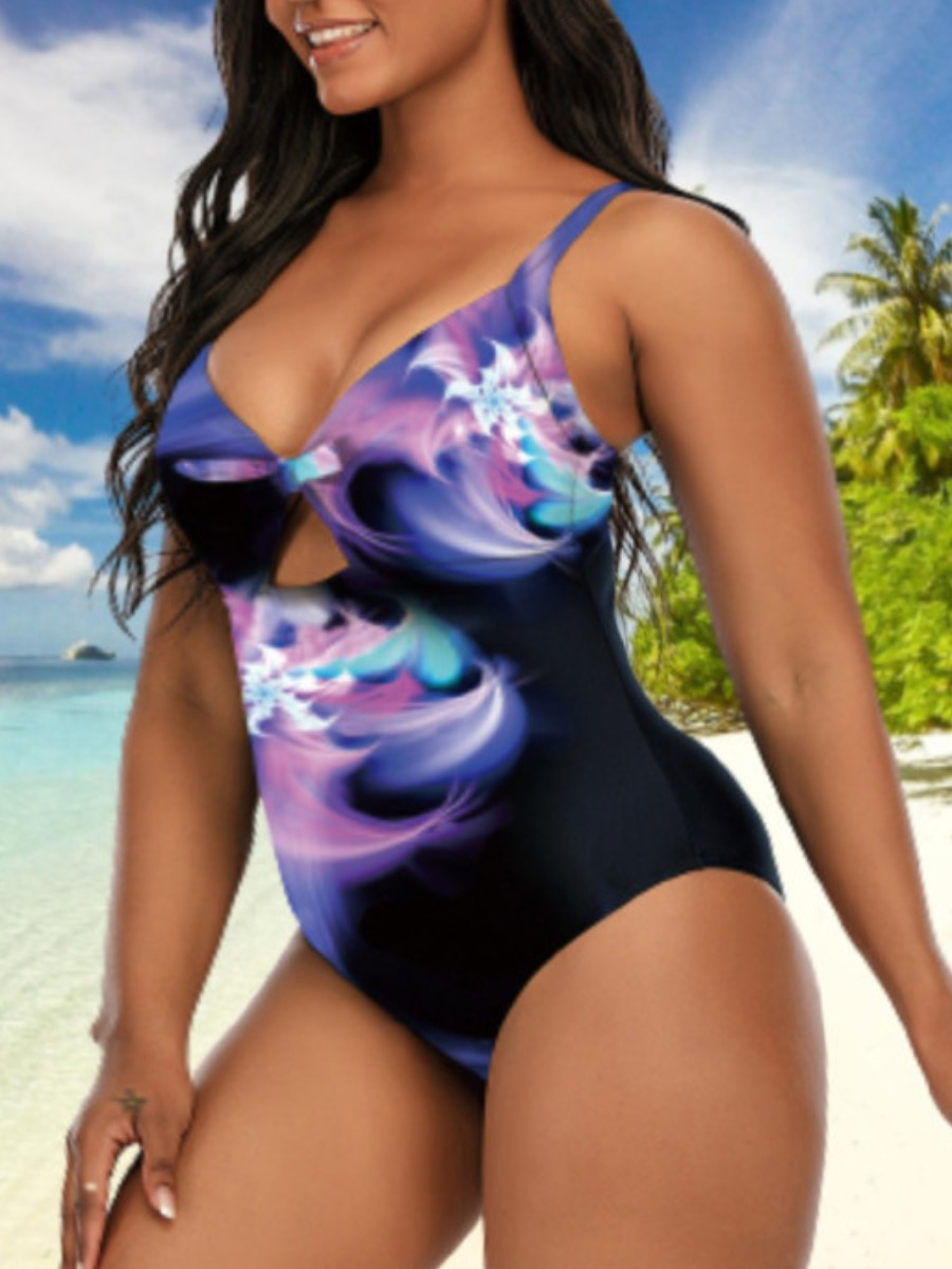 Lovely Boho Tie-dye Hollow-out Multicolor Plus Size One-piece Swimsuit
