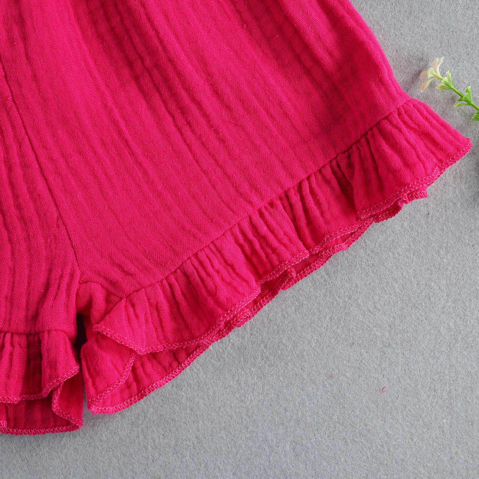 LW COTTON Girl Street Flared Ruffle Design Rose Red Two Piece Shorts Set(With Headband)