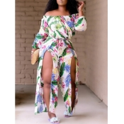 Lovely Boho Floral Print Split Multicolor Ankle Length Plus Size Dress