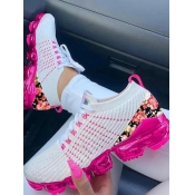 Lovely Sporty Floral Print White Sneakers