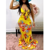 Lovely Boho Floral Print Bandage Hollow-out Design Yellow Floor Length Dress