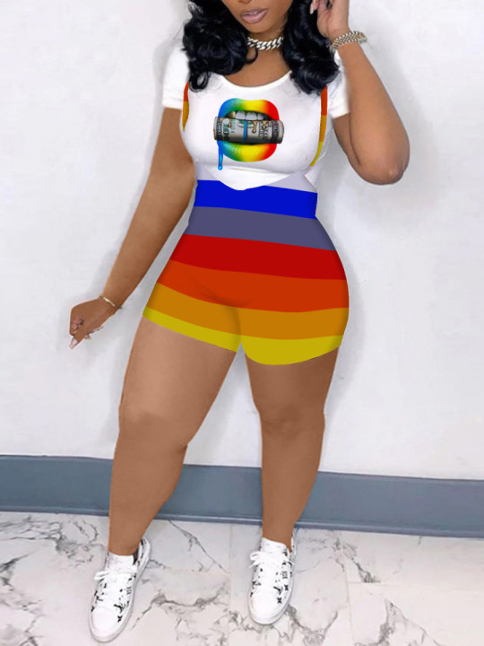 Lovely Plus Size Casual Lip Print Striped Overall White Two-piece Shorts Set