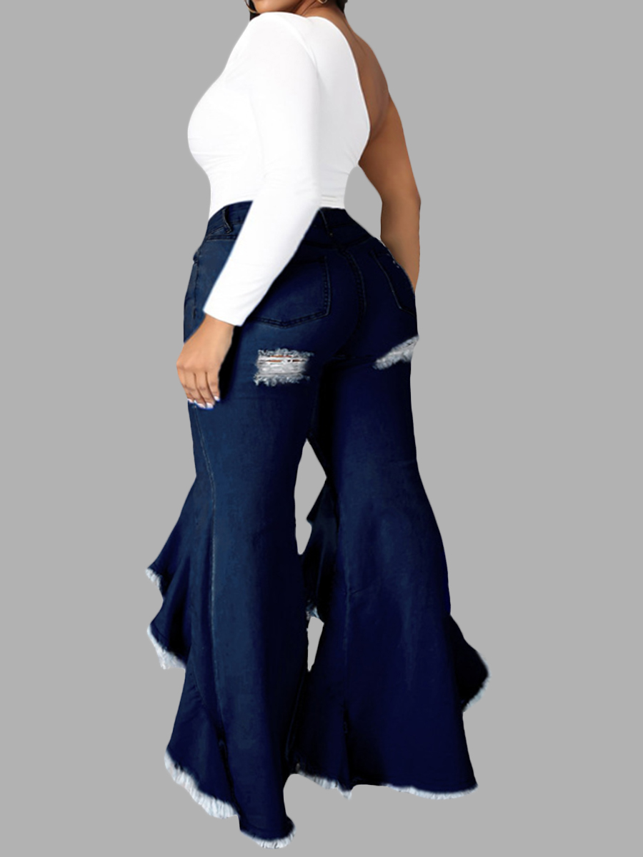 LW Plus Size Sweet Ripped Flared Flounce Design Deep Blue Jeans