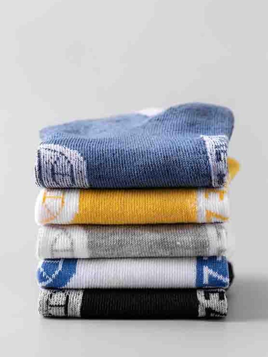 Lovely 5-pair Men Casual Letter Print Multicolor Socks
