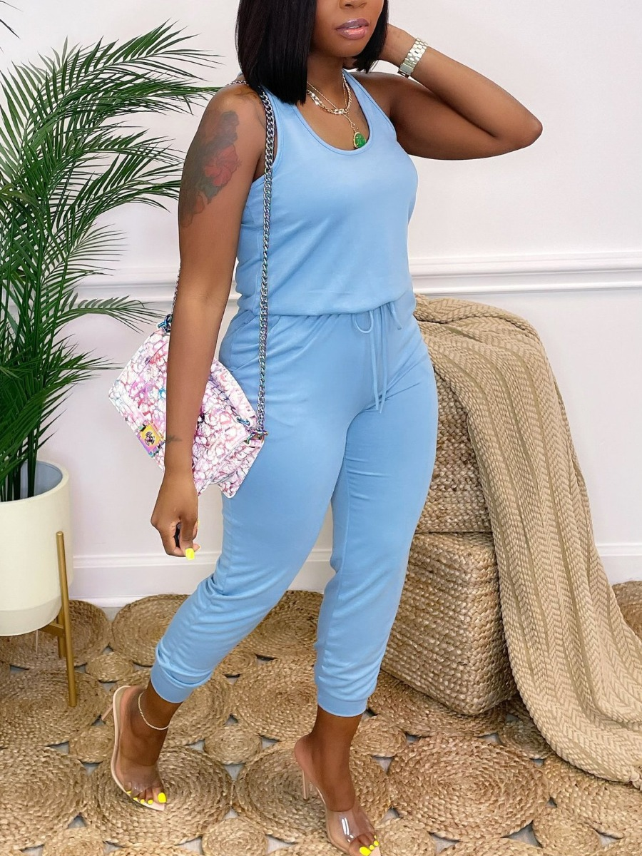 Lovely Casual U Neck Drawstring Blue One-piece Jumpsuit