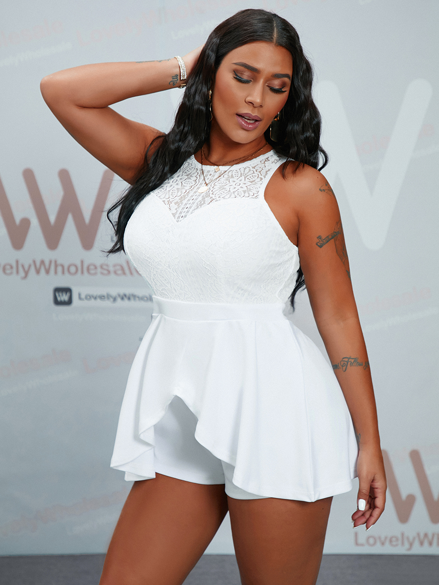 Lovely Casual Mesh Patchwork White Mini A Line Dress