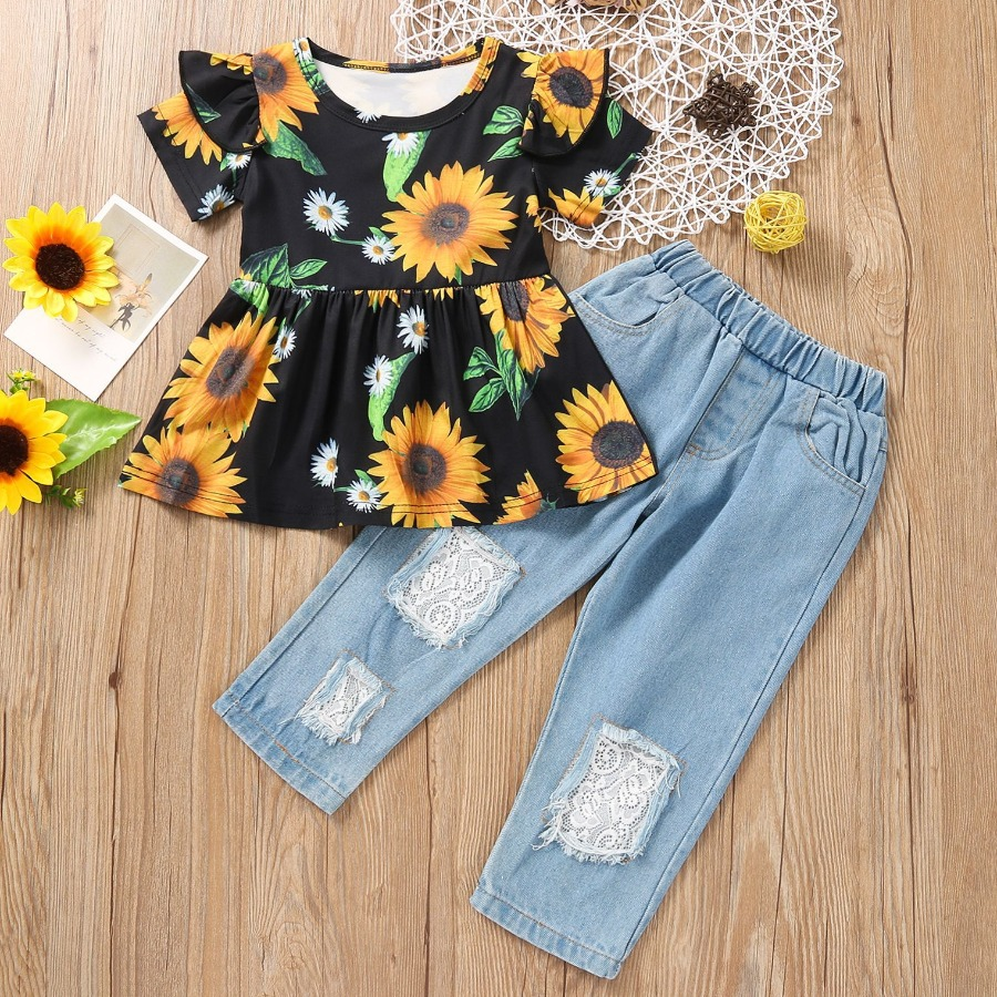 LW COTTON Girl Sunflower Street Floral Print Ripped Black Two Piece Pants Set