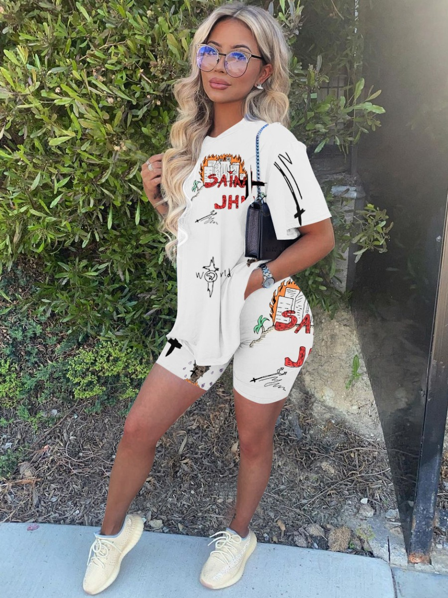 Lovely Street Round Neck Letter Print White Two Piece Shorts Set