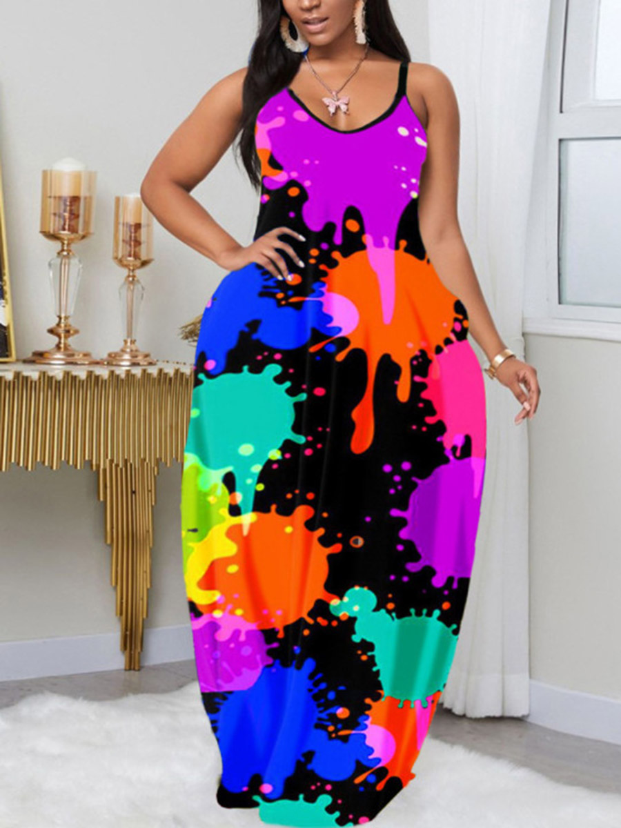 LW Plus Size Street Print Patchwork Black Floor Length Dress