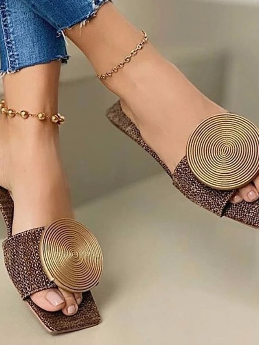 Lovely Casual Disc Decoration Brown Slippers