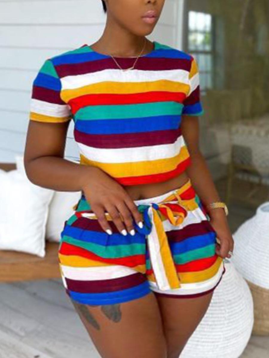 LW Plus Size Casual Striped Bandage Design Multicolor Two-piece Shorts Set