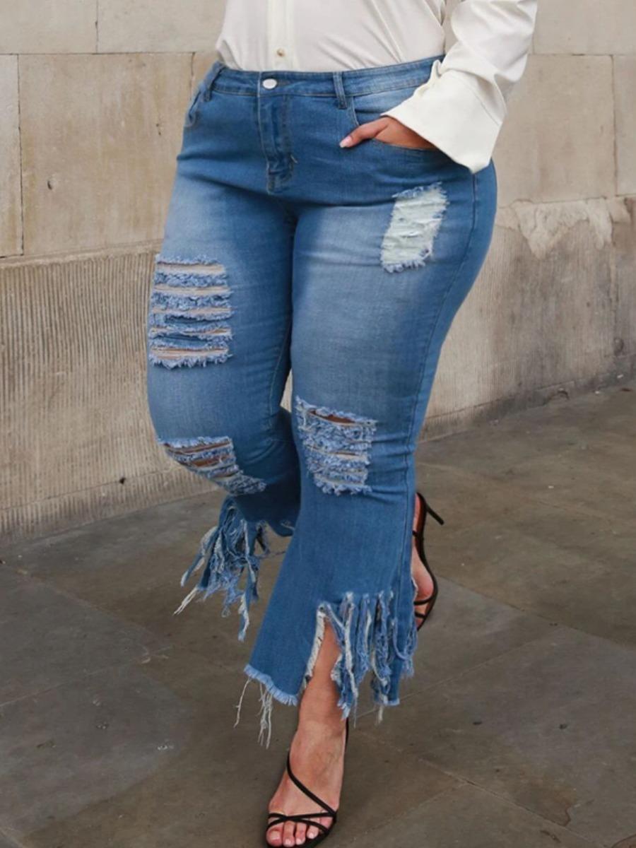 LW Plus Size Street Ripped Tassel Design Blue Jeans