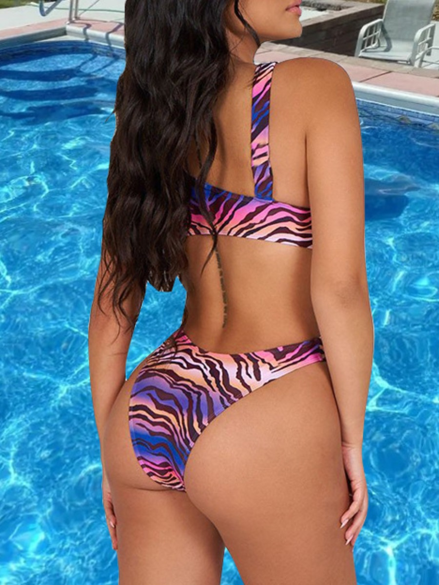 Lovely BohoCamo Print Hollow-out Purple One-piece Swimsuit