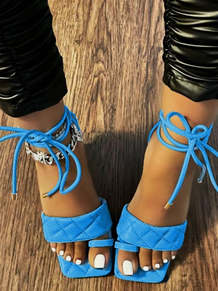 LW Street Tie Leg Blue Sandals