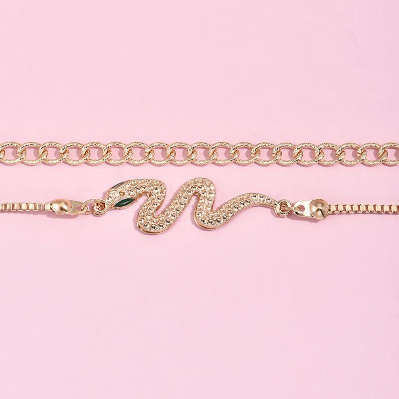 Lovely Casual Snake Decoration Gold Double-layer Bracelet