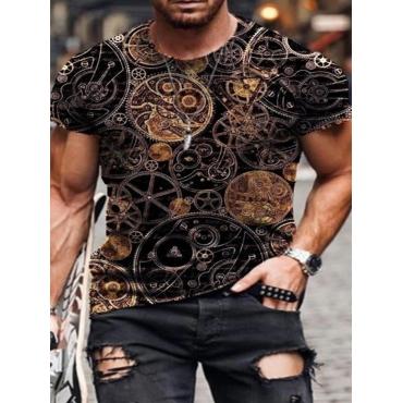 LW Men Street Round Neck Mixed Print Black T-shirt