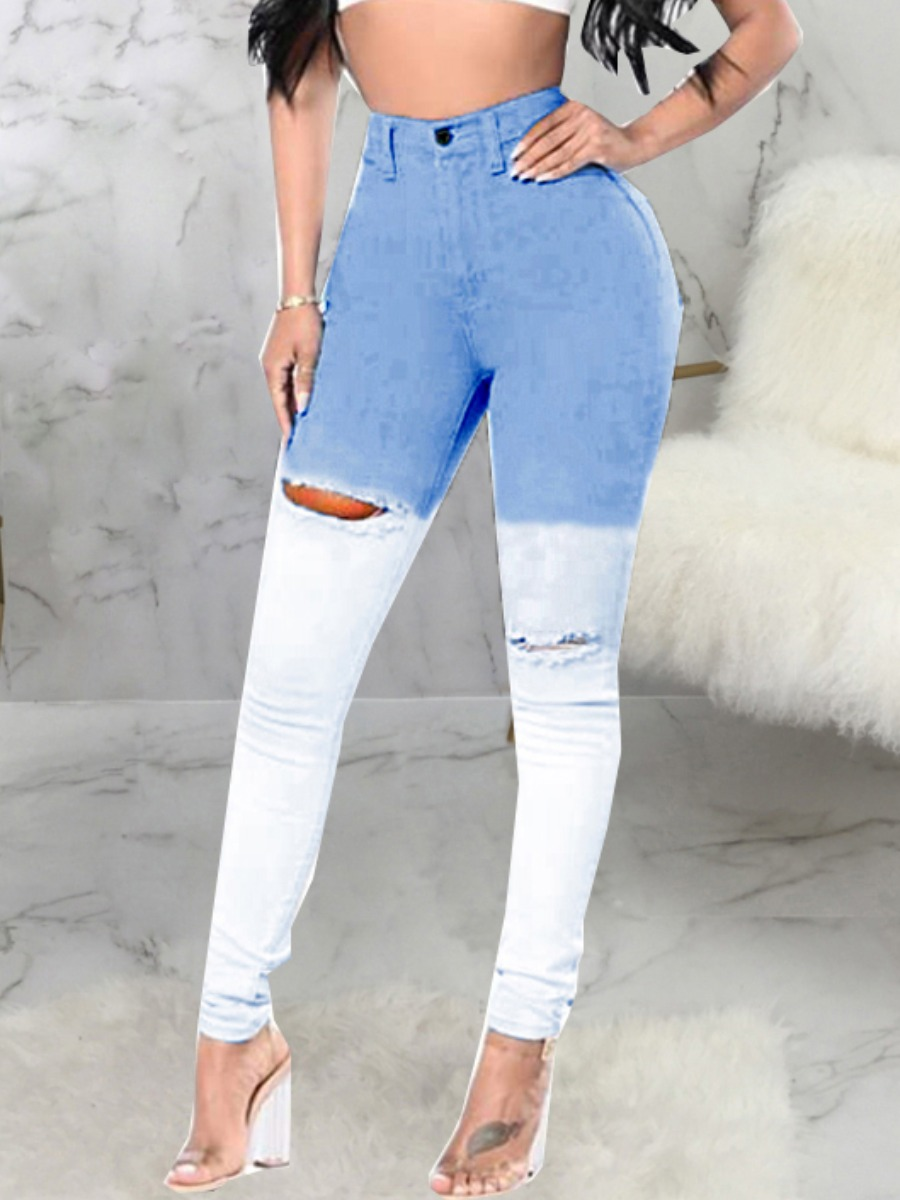 LW Street Gradient Ripped Baby Blue Jeans