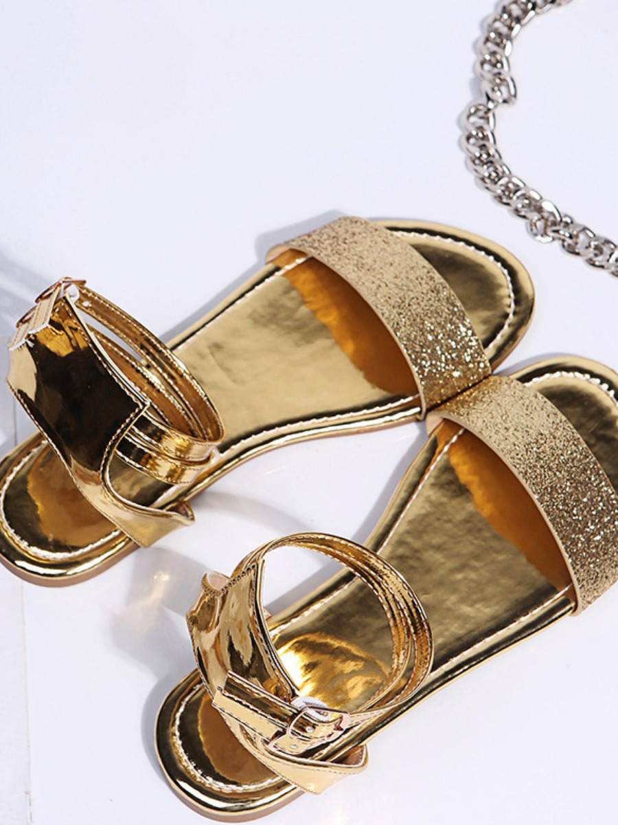 Lovely Sweet Round-toe Gold Sandals