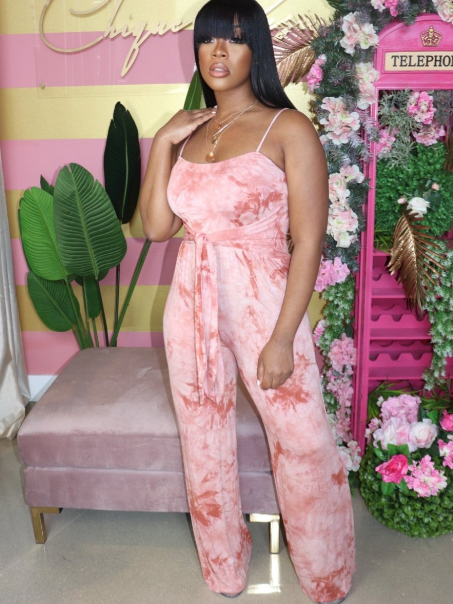 Lovely Casual Tie-dye Bandage Design Pink One-piece Jumpsuit