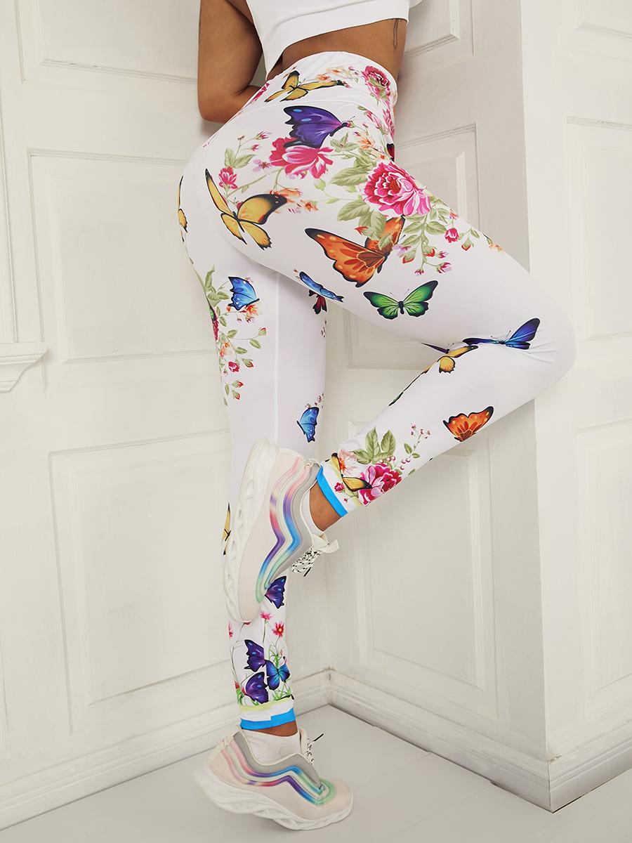 Lovely Sporty Mid Waist Butterfly Print White TikTok Leggings