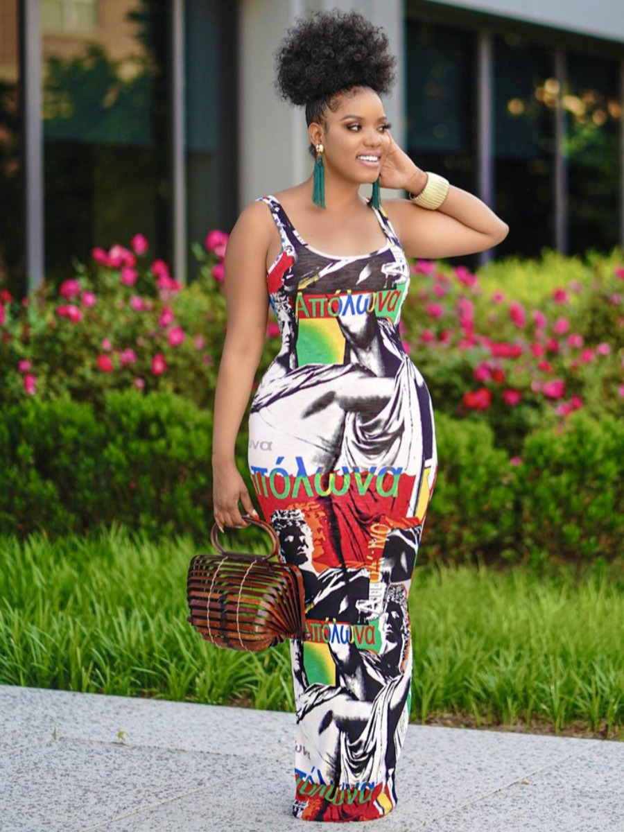 LW Street Letter Print Patchwork Multicolor Ankle Length Dress