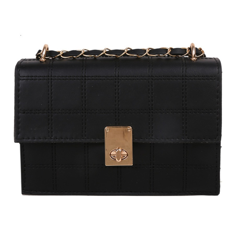LW BASIC Casual Metal Buckle Chain Decoration Black Shoulder Bag