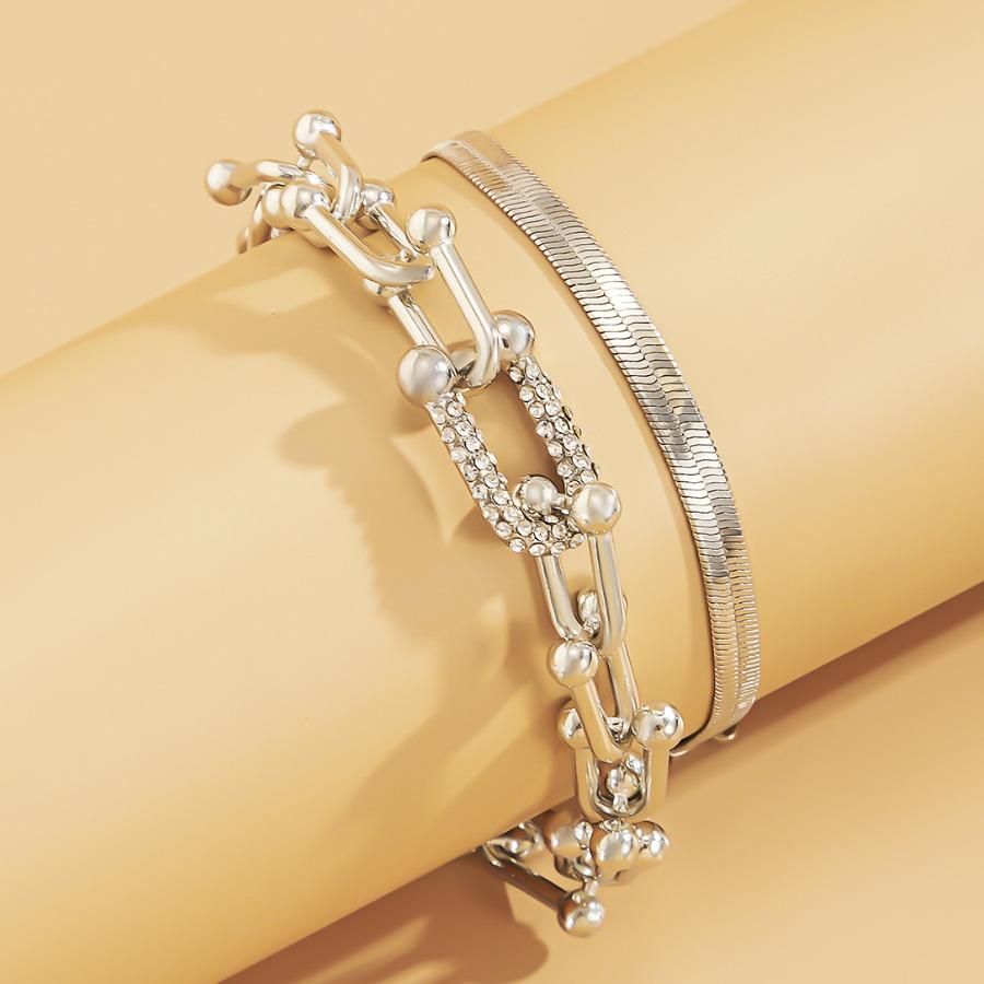 Lovely Street Square Buckle Silver Bracelet