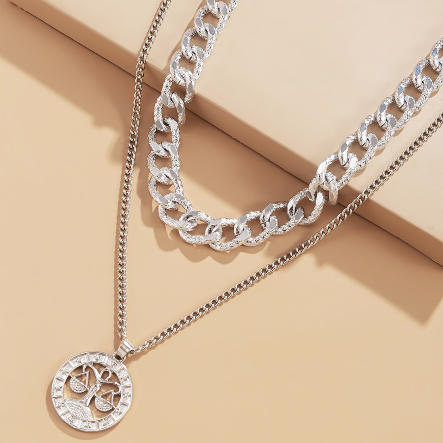 LW Libra Casual  Constellation Silver Double-layer Necklace