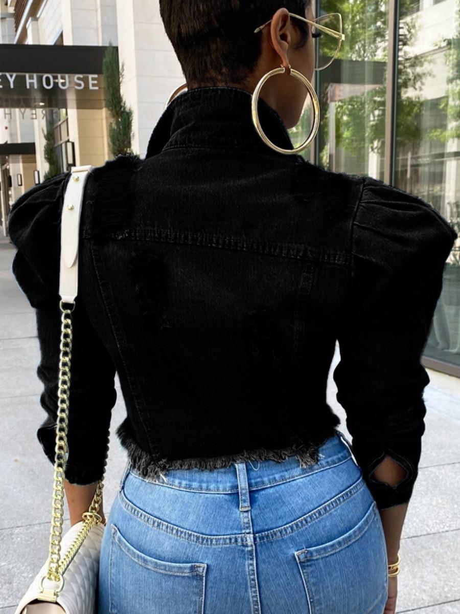 Lovely Plus Size Street Ripped Ruffle Design Black Denim Coat