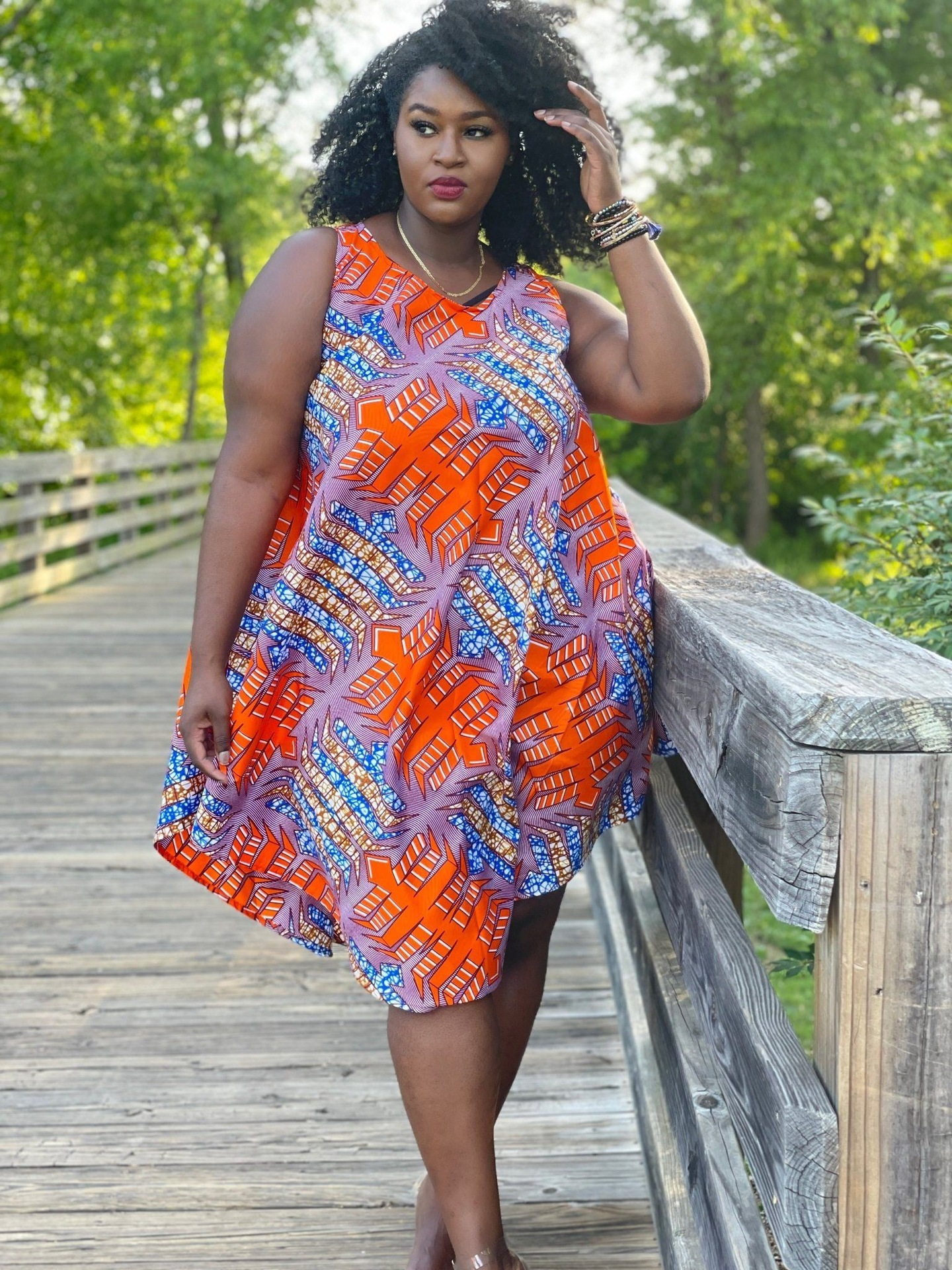 Lovely Plus Size Boho V Neck Mixed Print Croci Knee Length A Line Dress