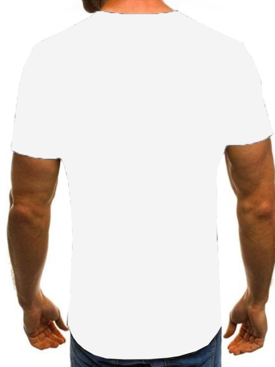 Lovely Men Casual Round Neck Letter Print White T-shirt