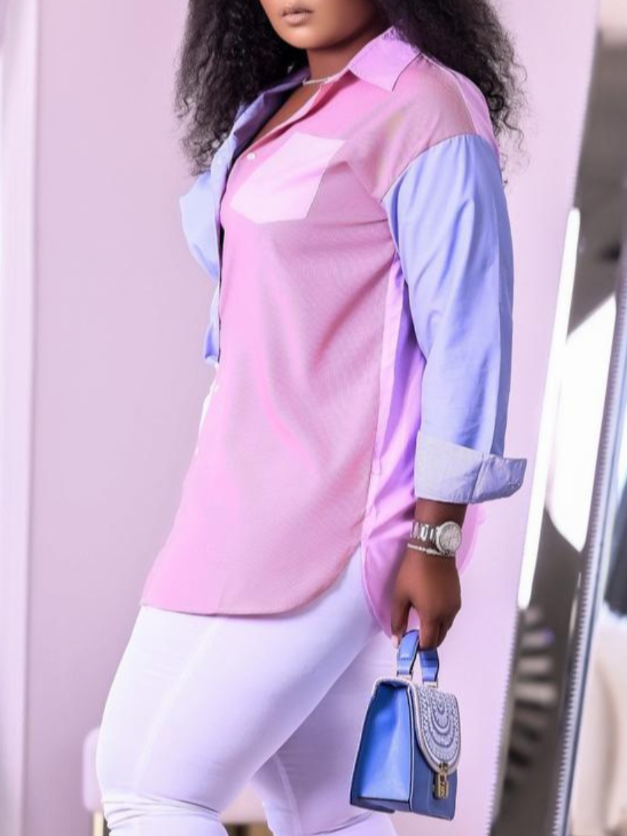 Lovely Plus Size Casual Turndown Collar Patchwork Pink Blouses