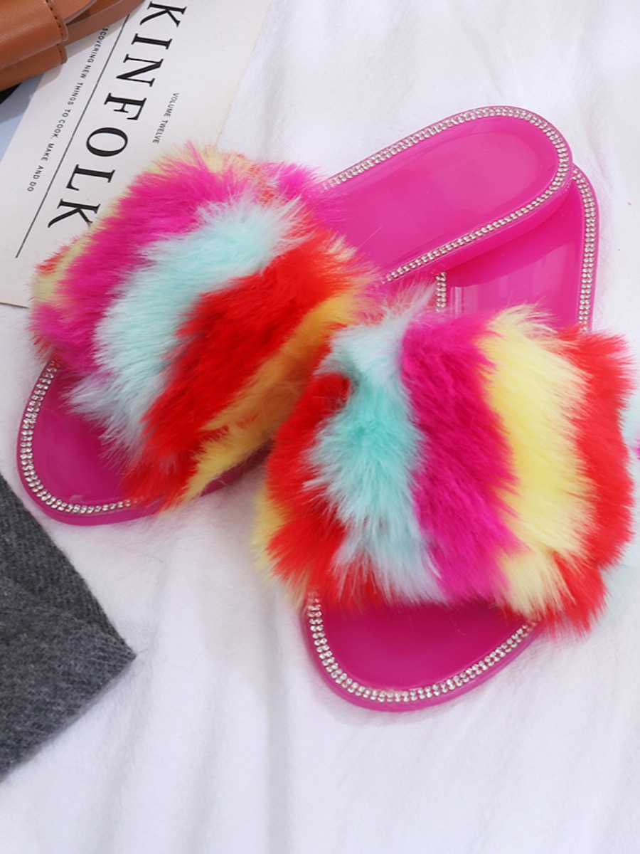 Lovely Casual Fluffy Patchwork Rose Red Slippers